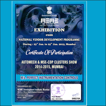Perfect Instrumentation Controls participation certificate
